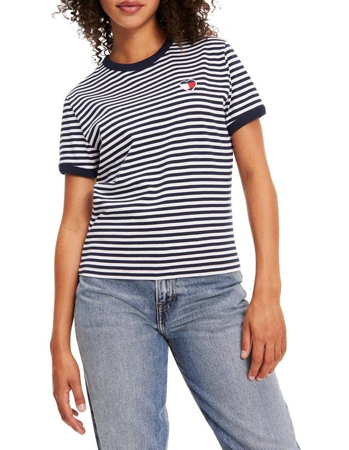 Recycled Stripe Heart Logo T-Shirt image 1