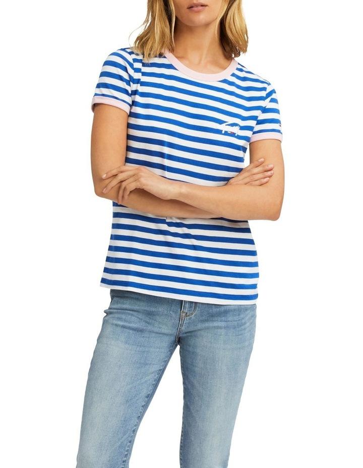 Chest Logo Embroidery Stripe Ringer T-Shirt image 1