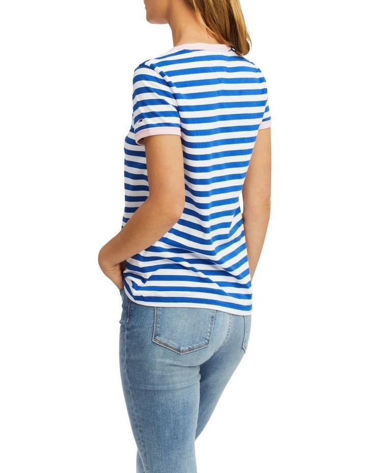 Chest Logo Embroidery Stripe Ringer T-Shirt image 2