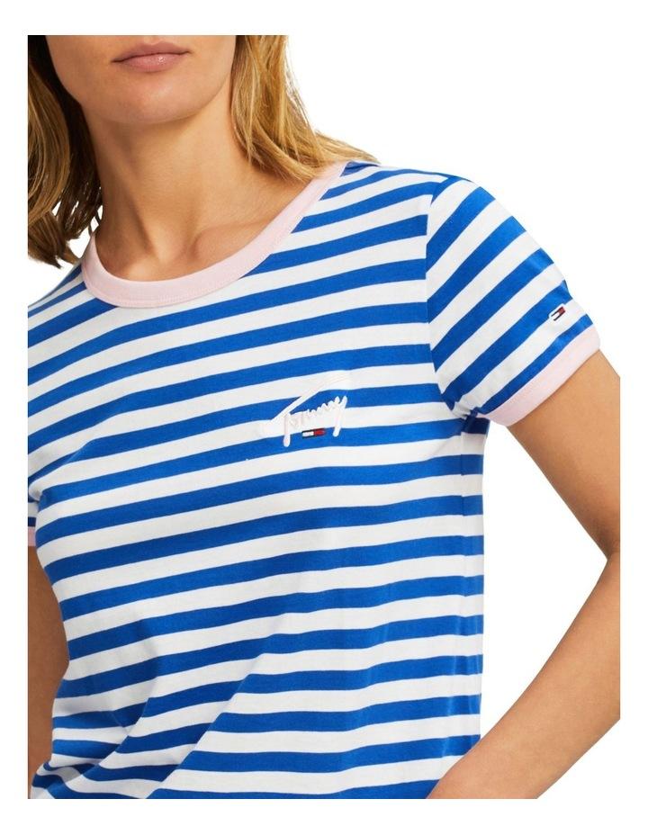 Chest Logo Embroidery Stripe Ringer T-Shirt image 3