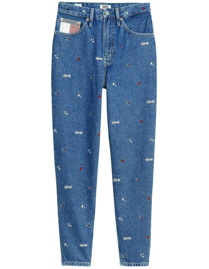 Recycled Embroidery High Rise Mom Jeans image 5