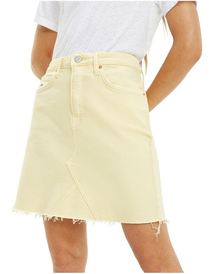 Raw Hem Stretch Denim Skirt image 2