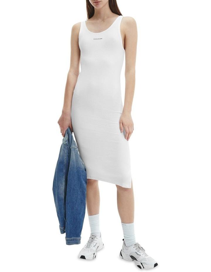 Micro Branding Cotton Bodycon Dress Bright White image 1