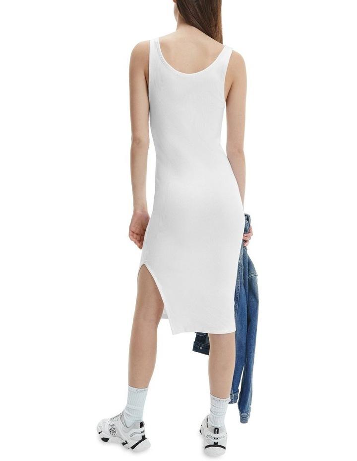 Micro Branding Cotton Bodycon Dress Bright White image 3