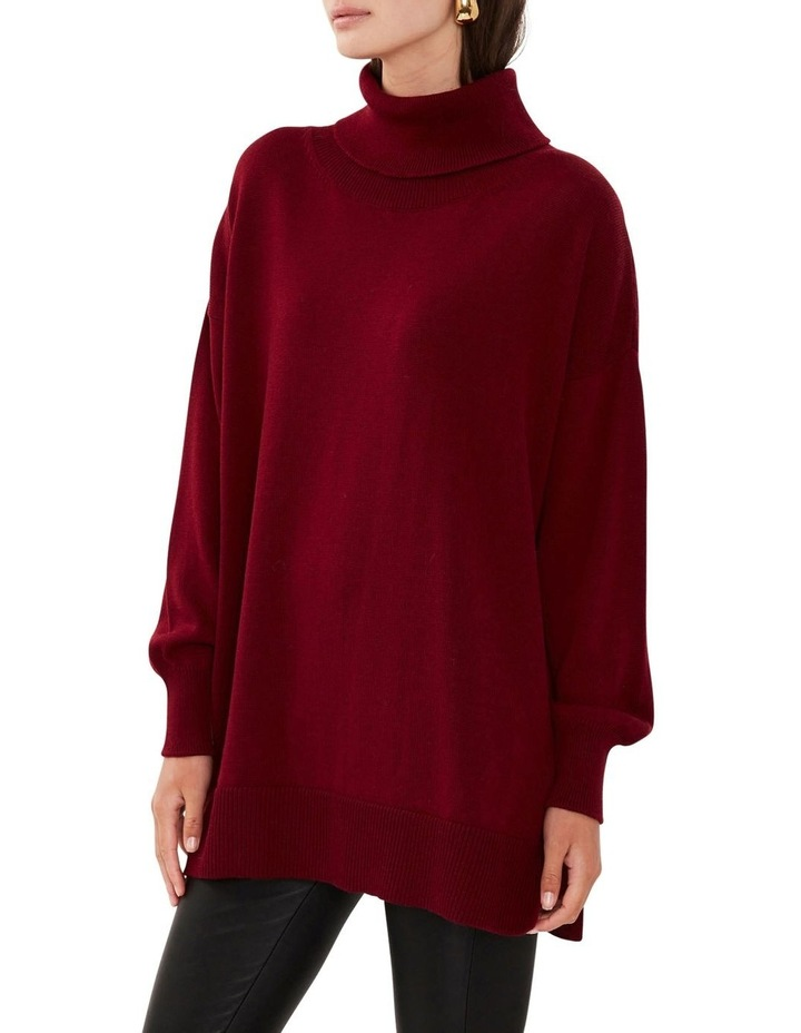 Wool Roll Neck Knit Red image 3