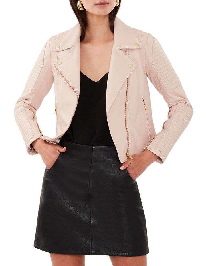 Blush Leather Biker Jacket image 1