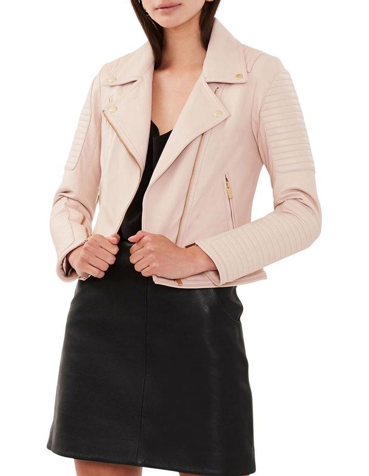 Blush Leather Biker Jacket image 2