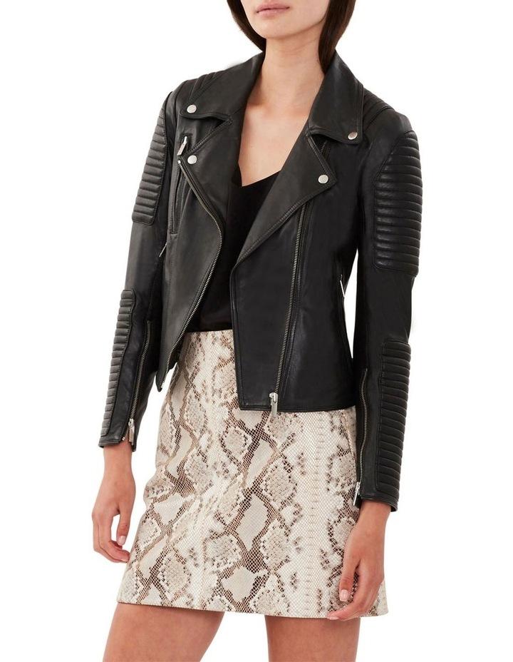 Nouveau Ella Black Leather Biker Jacket image 2