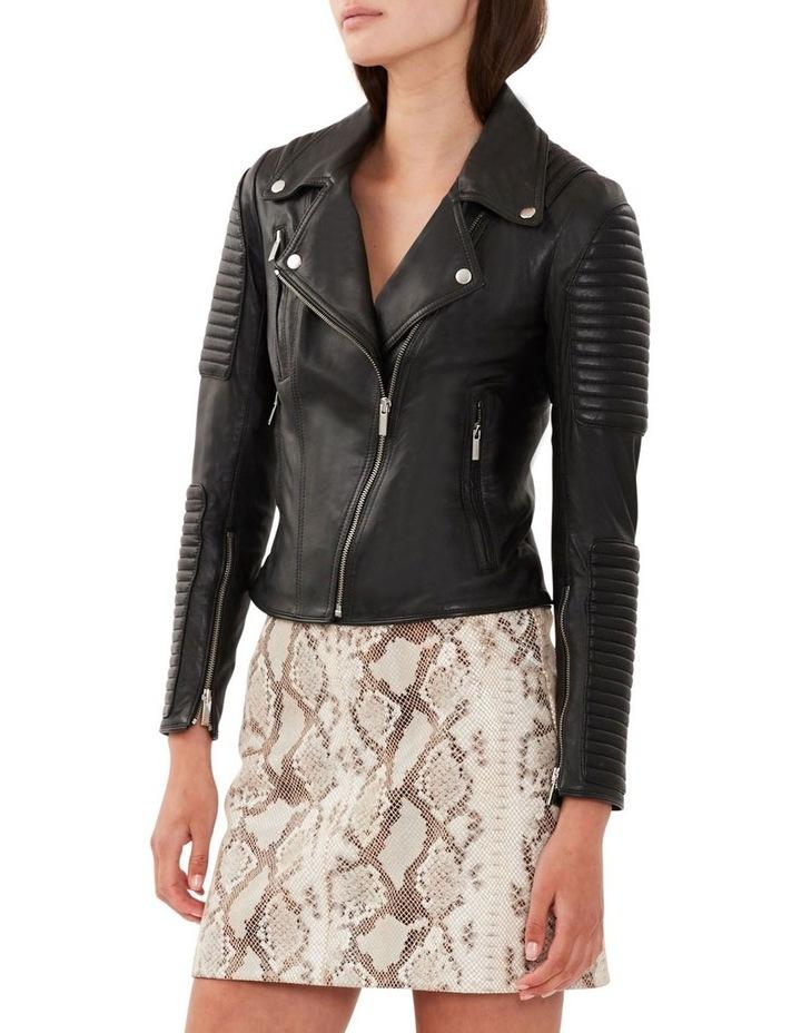 Nouveau Ella Black Leather Biker Jacket image 4