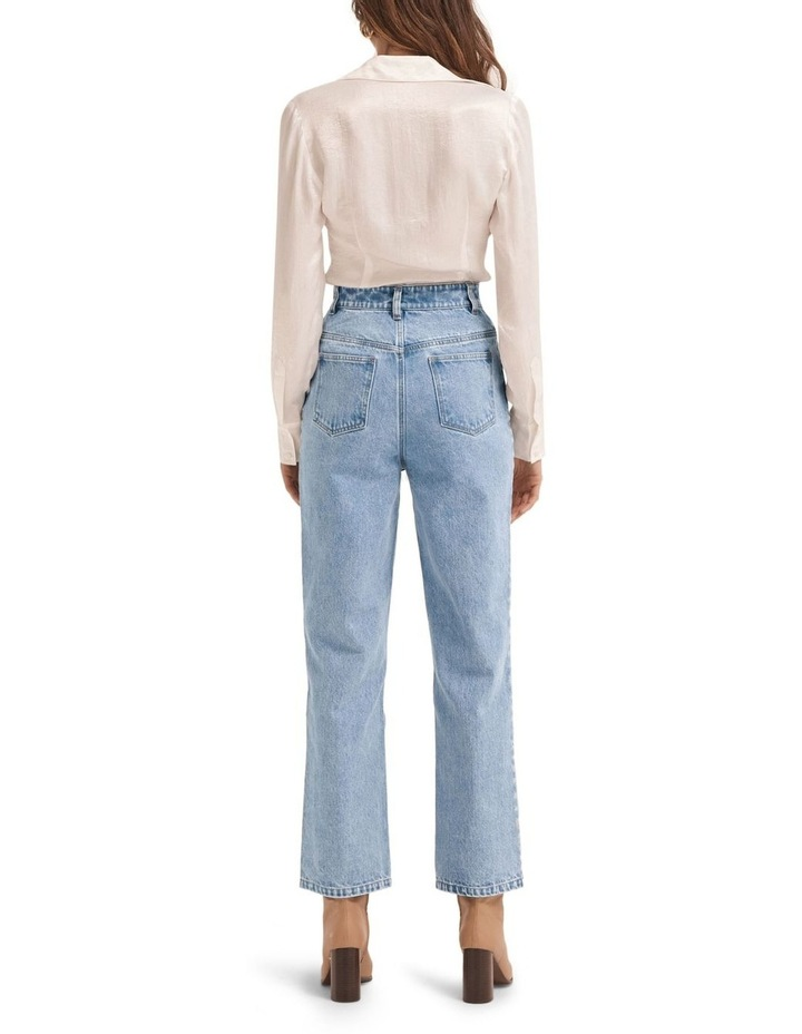 On The Straight And Narrow Washed Blue High Waisted Jean image 1