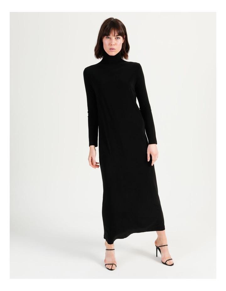 Long Sleeve Turtleneck Gown Black image 5