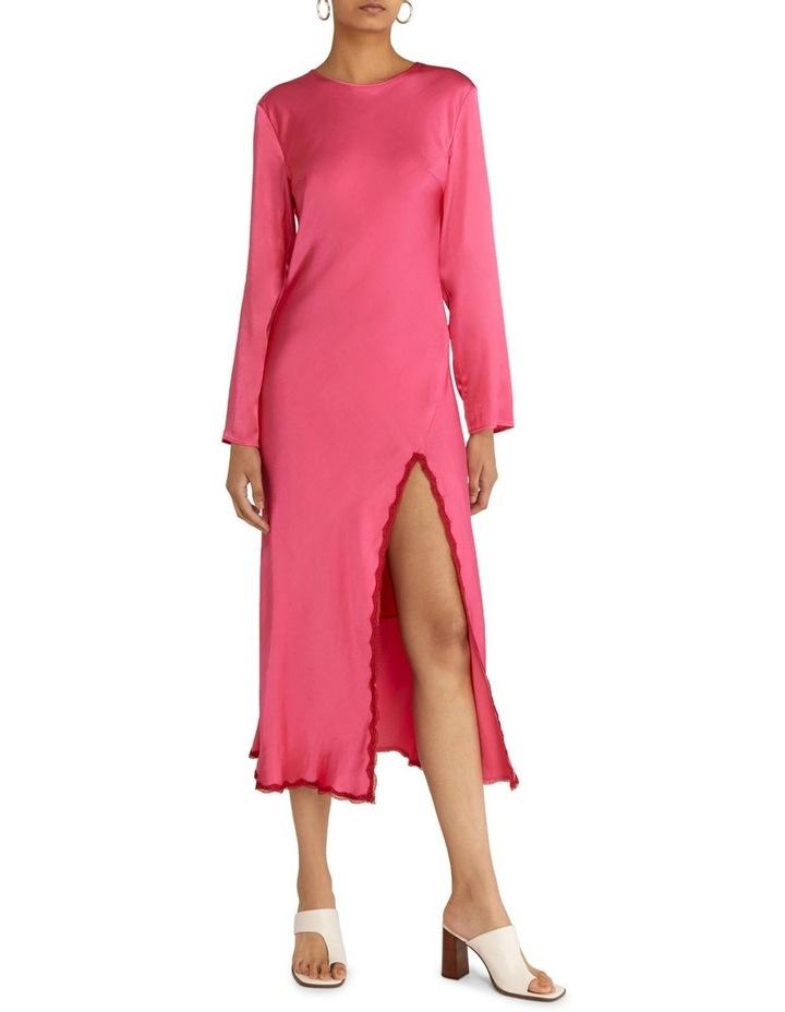 Last Dance Long Sleeve Bias Maxi Dress Magenta image 1