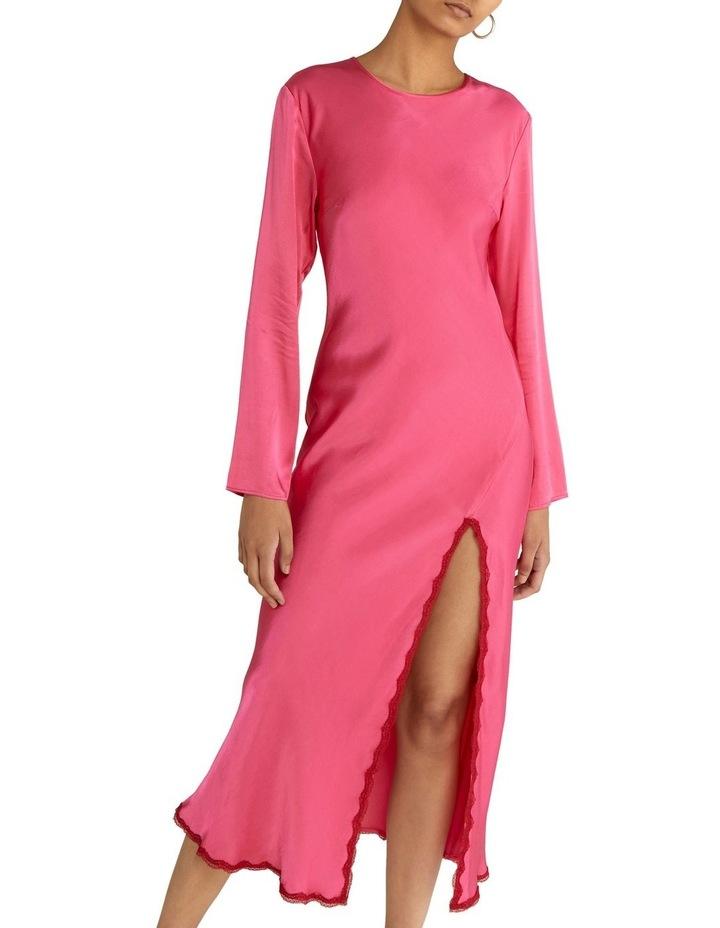 Last Dance Long Sleeve Bias Maxi Dress Magenta image 4