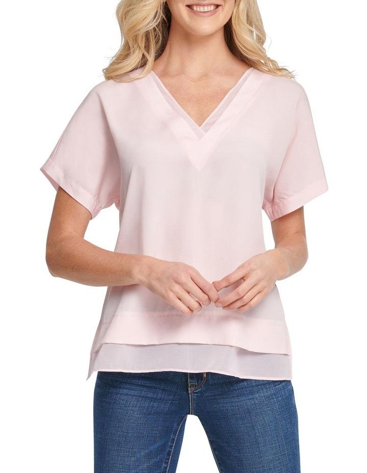 Short Sleeve V-Neck Top With Side Slits image 1