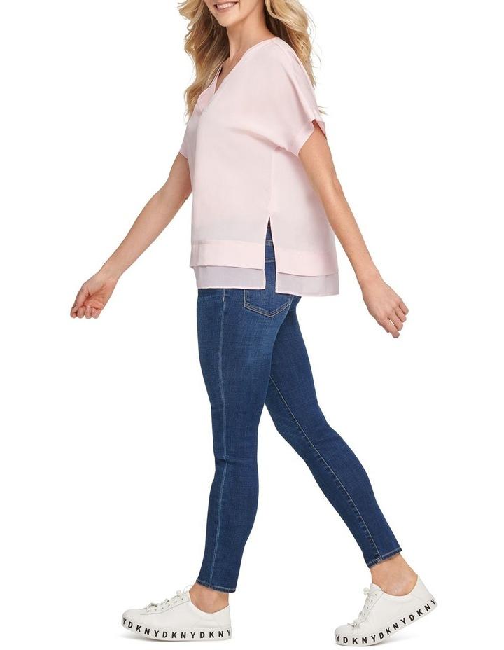 Short Sleeve V-Neck Top With Side Slits image 2