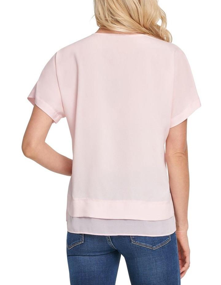 Short Sleeve V-Neck Top With Side Slits image 3