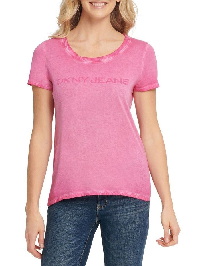 Short SLeeve Crew Neck Washed Logo T-Shirt image 4