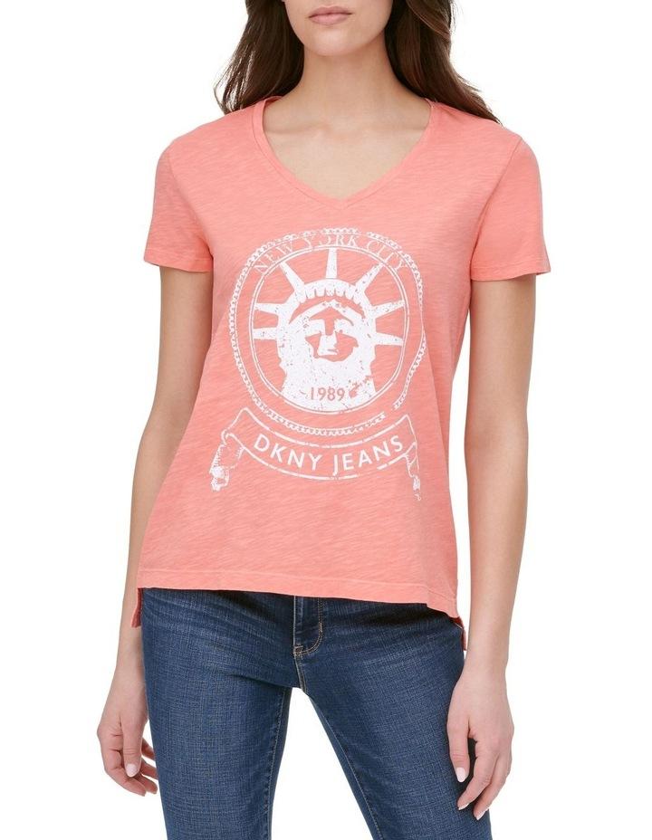 Short Sleeve Vneck Statue Of Liberty Logo T-Shirt image 1