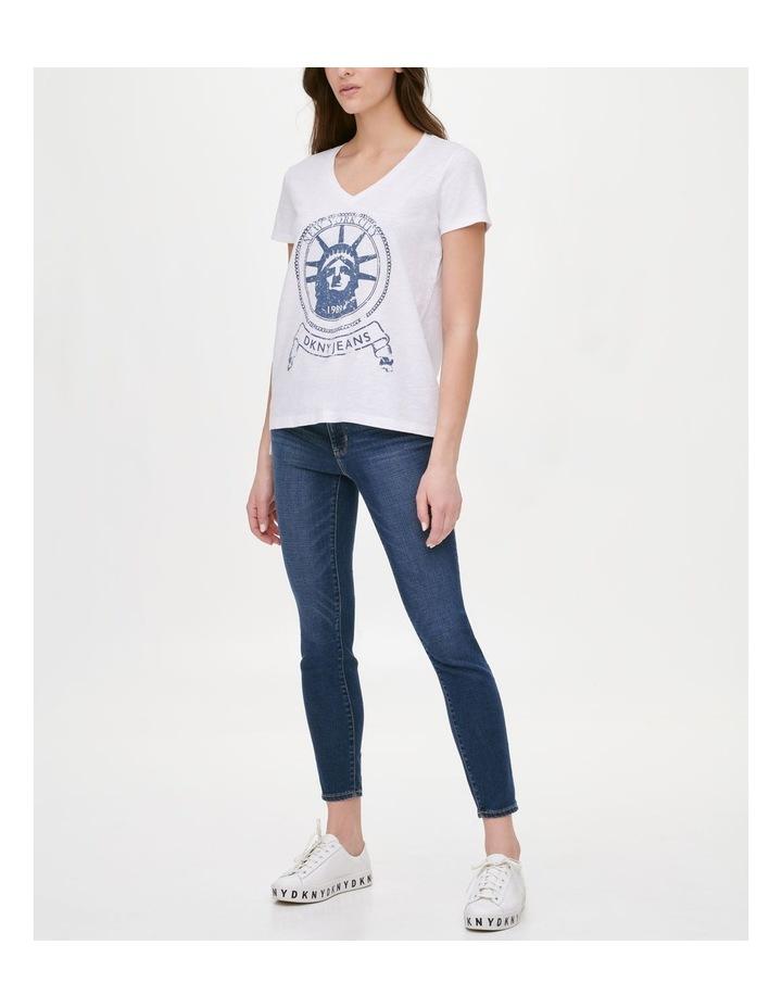 Short Sleeve Vneck Statue Of Liberty Logo T-Shirt image 2