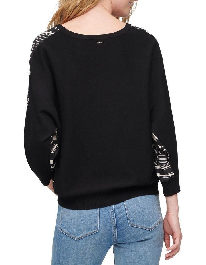 Printed Mix Media Elbow Sleeve Sweater image 2