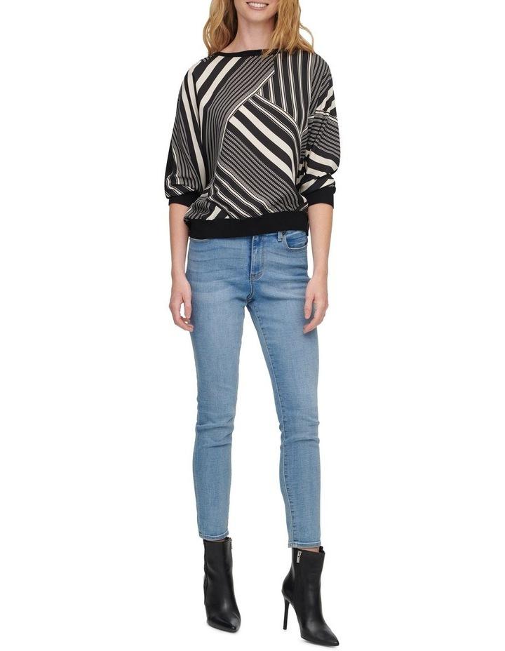 Printed Mix Media Elbow Sleeve Sweater image 3