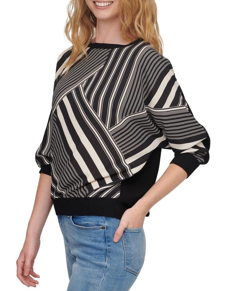 Printed Mix Media Elbow Sleeve Sweater image 4