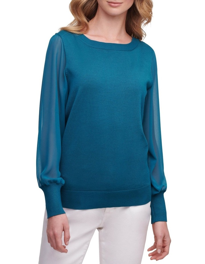 Long Sleeve With Woven Sleeves image 1