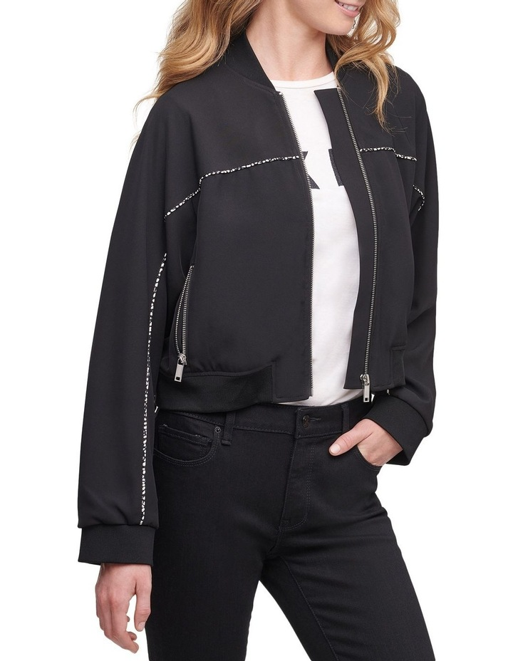 Cropped Bomber With Print Detail image 1