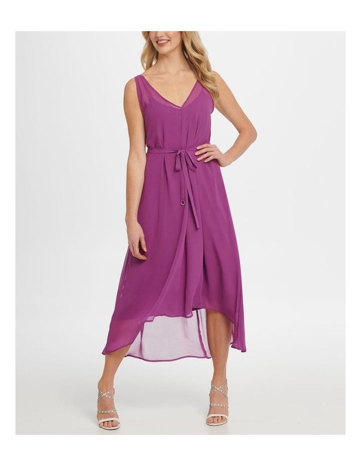Sleeve Vneck Hi-Low Dress W/ Waist Self Belt image 1