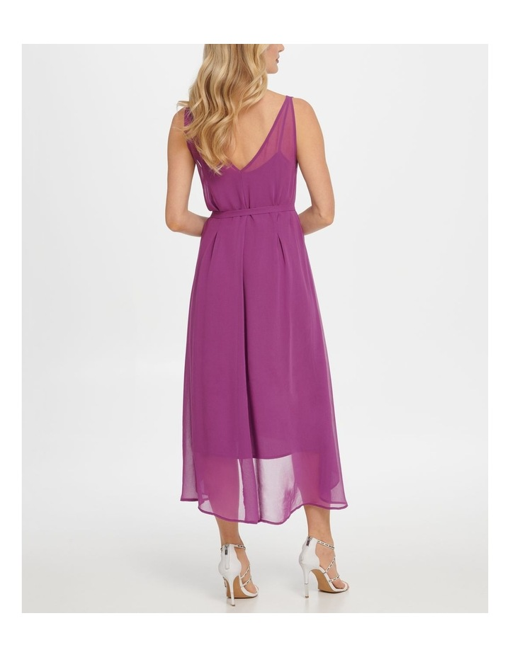 Sleeve Vneck Hi-Low Dress W/ Waist Self Belt image 3