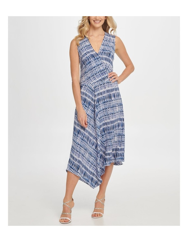 Printed Sleeve Vneck Wrap Colorblock Panel Dress image 1