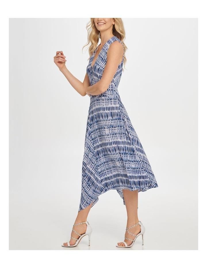 Printed Sleeve Vneck Wrap Colorblock Panel Dress image 2