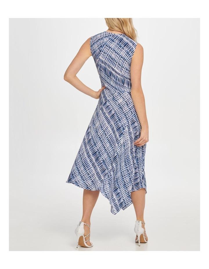 Printed Sleeve Vneck Wrap Colorblock Panel Dress image 3