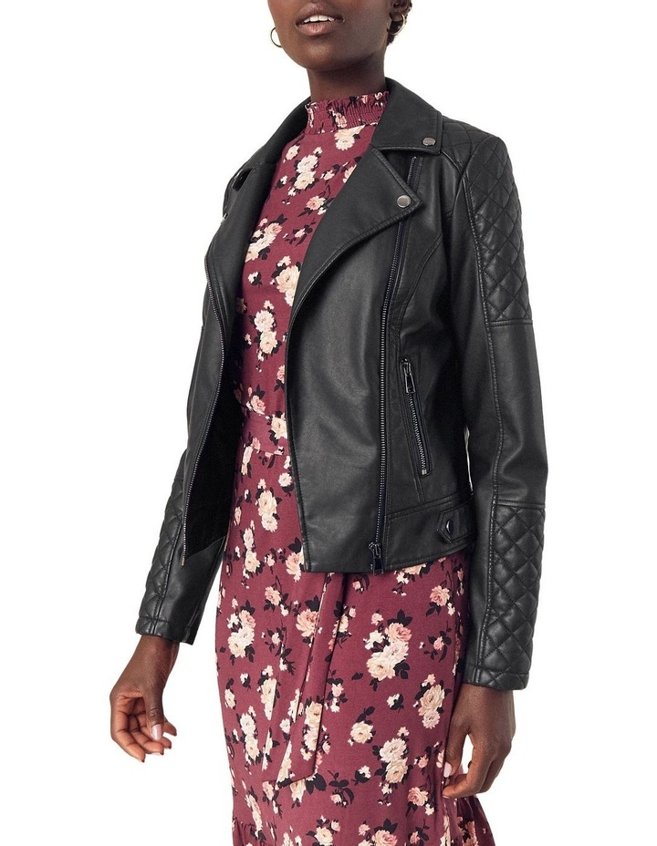 FAUX LEATHER QUILTED BIKER image 1