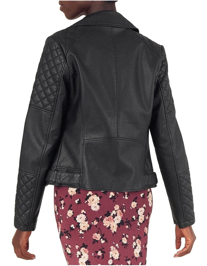 FAUX LEATHER QUILTED BIKER image 3