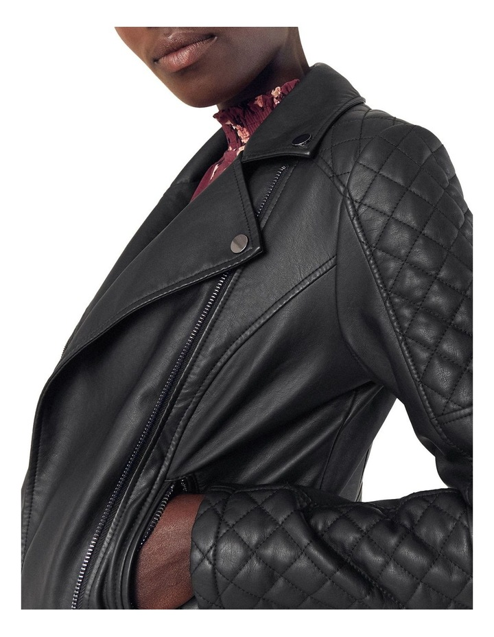 FAUX LEATHER QUILTED BIKER image 4