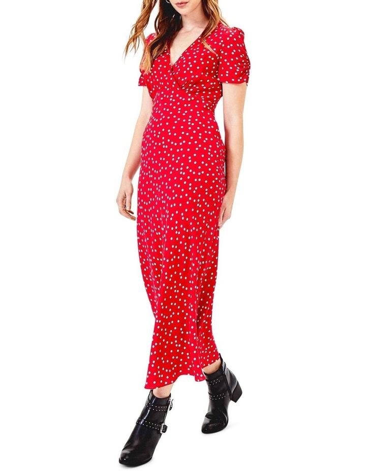 Short Sleeve Red Spot Bias Midi Dress image 1