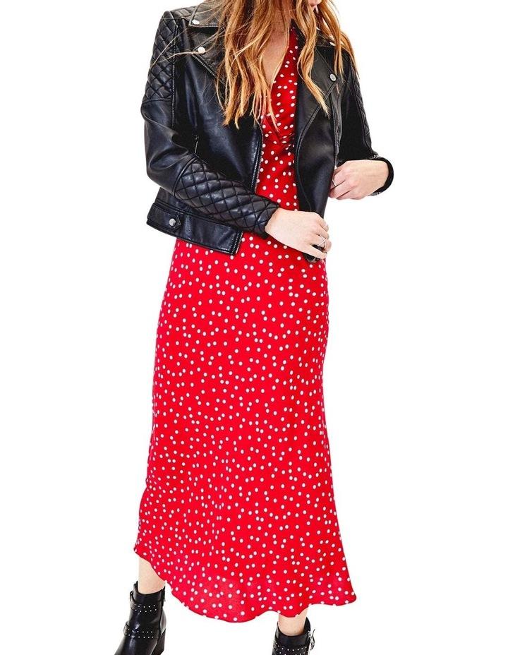 Short Sleeve Red Spot Bias Midi Dress image 2