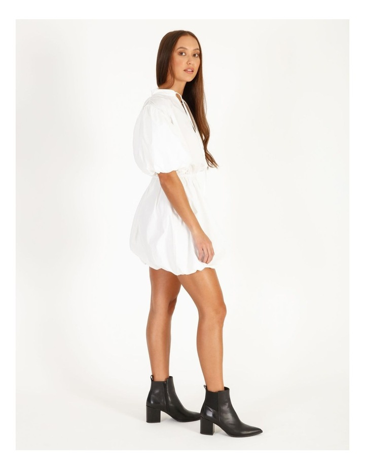 Puff Skirt Tie Neck Poplin Shirt Dress image 2