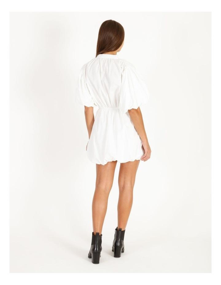 Puff Skirt Tie Neck Poplin Shirt Dress image 3