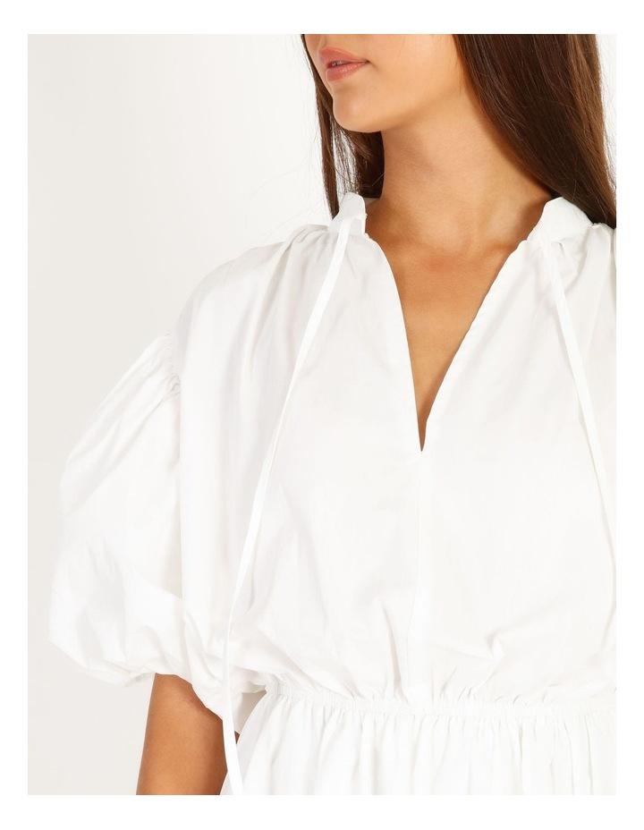 Puff Skirt Tie Neck Poplin Shirt Dress image 4