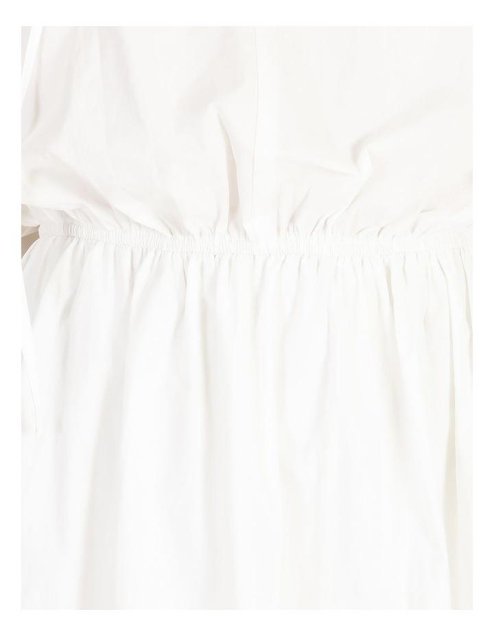 Puff Skirt Tie Neck Poplin Shirt Dress image 5