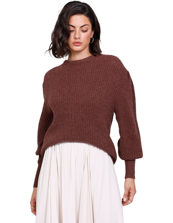 Rodeo Puff Sleeve Crew Neck Sweater Rich Truffle image 1