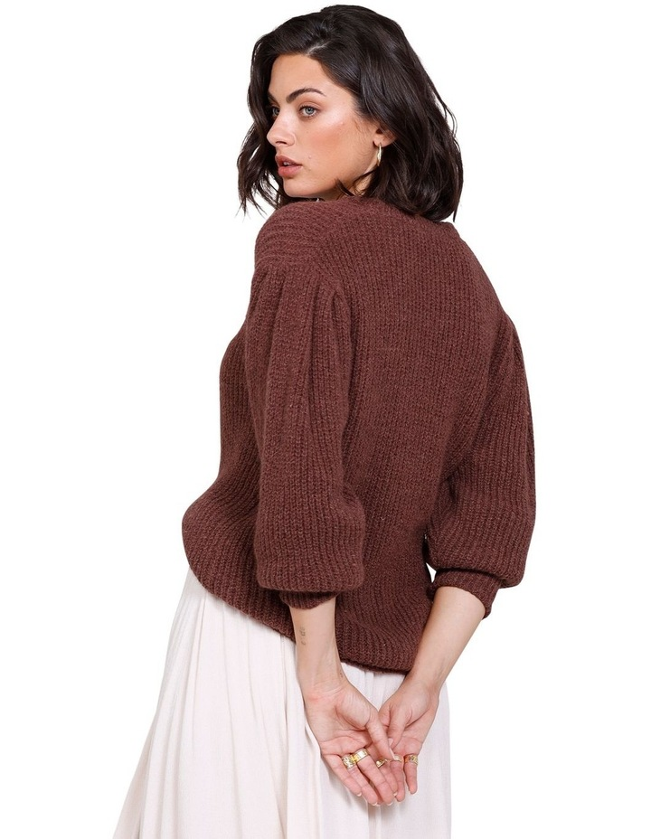 Rodeo Puff Sleeve Crew Neck Sweater Rich Truffle image 2