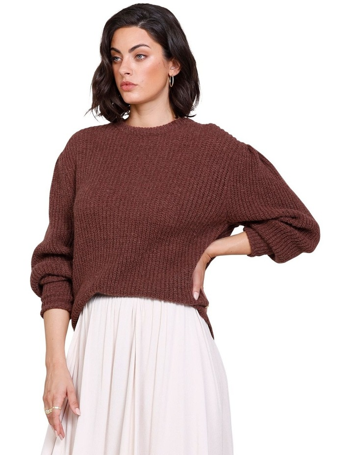 Rodeo Puff Sleeve Crew Neck Sweater Rich Truffle image 3