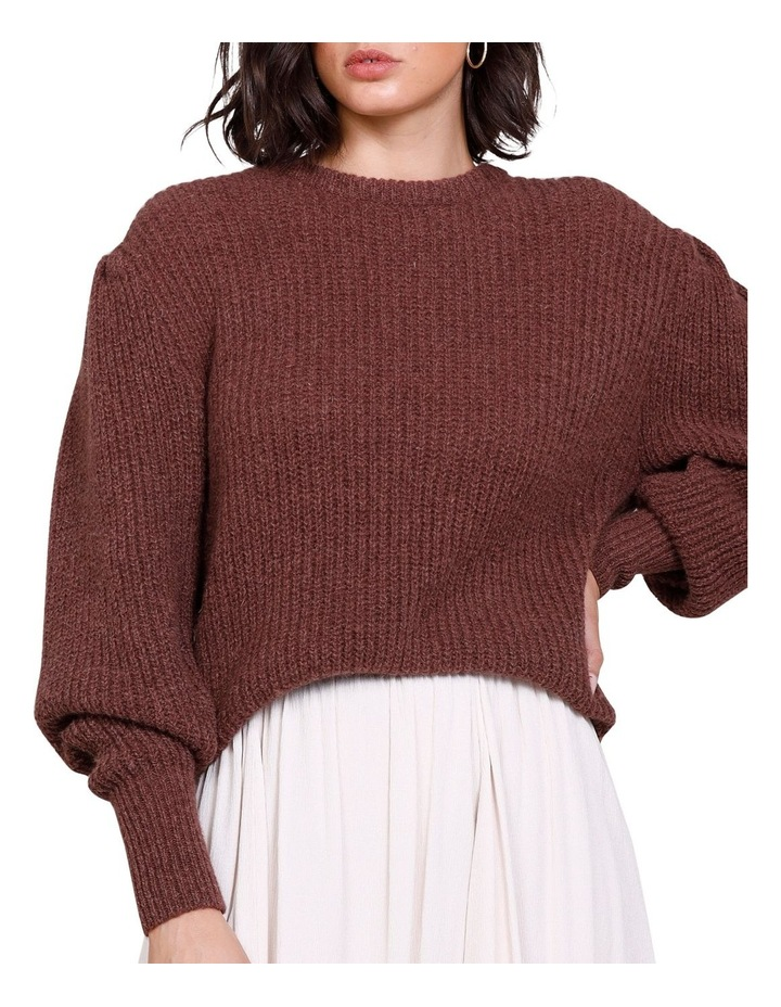 Rodeo Puff Sleeve Crew Neck Sweater Rich Truffle image 4