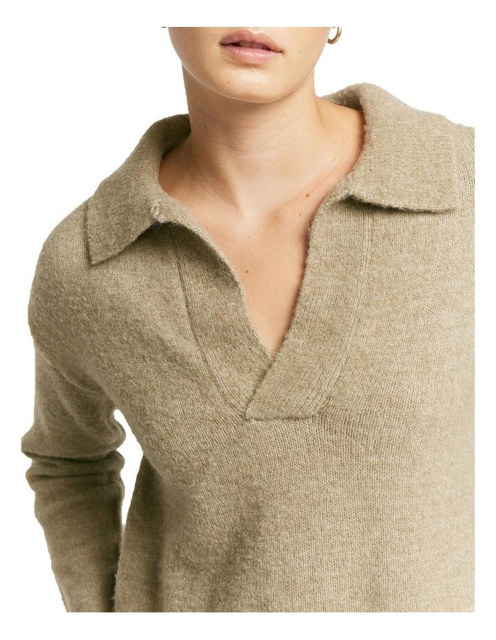 Greta Polo Vintage Knit Top Khaki image 3