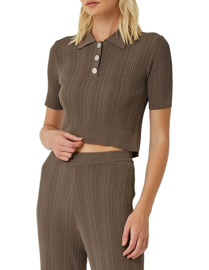 Maxine Ribbed Stretch-Knit Polo Top image 1