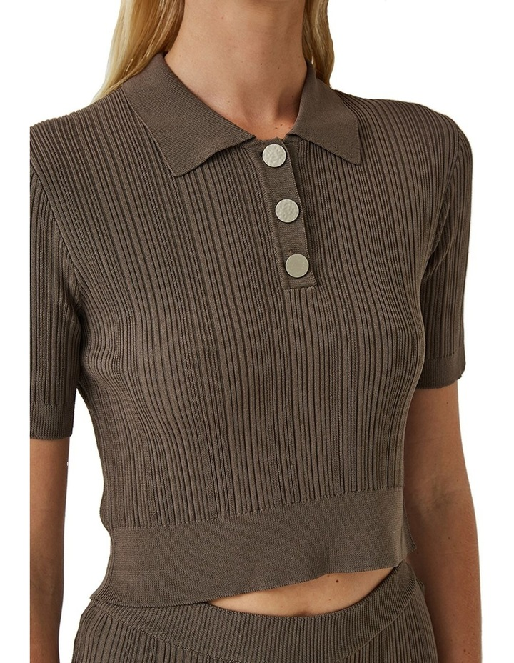 Maxine Ribbed Stretch-Knit Polo Top image 3