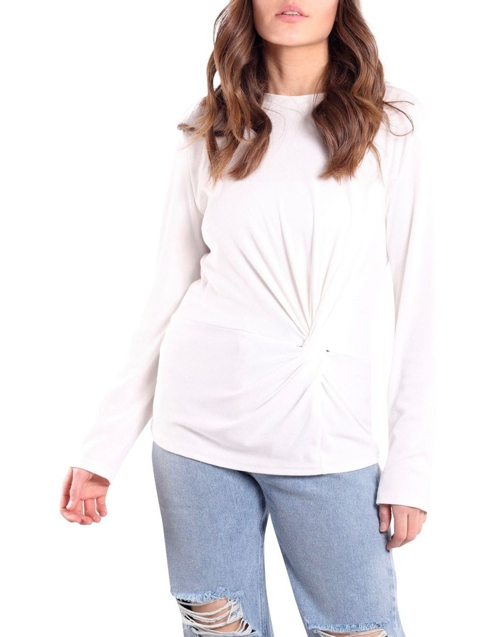 Long Sleeve Twist Front Top White image 1